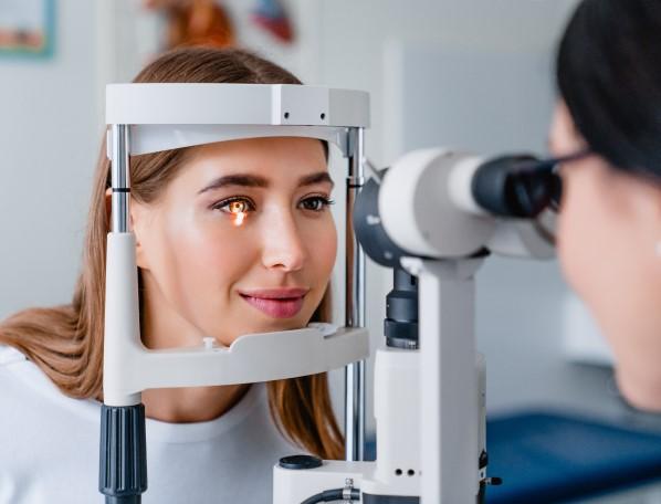 An image of a man receiving eye examination