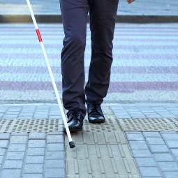 一个使用盲杖的视障人士的图像,表示BCD是一种致盲疾病。